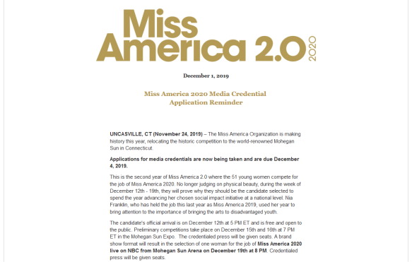 Reminder Miss America 2020 Press Credential Applications Due